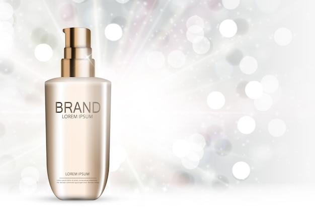Plantilla de productos cosméticos para anuncios o fondo de revista. ilustración realista Vector Premium
