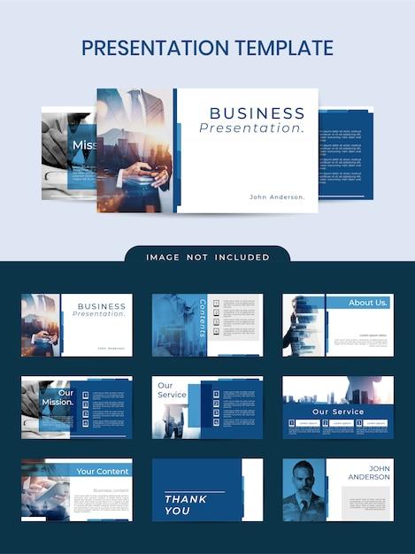 Plantilla profesional elegante de powerpoint con color azul clásico Vector Premium