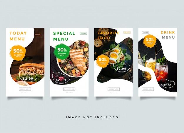 Plantilla de promoción de historias de instagram de alimentos y culinaria Vector Premium