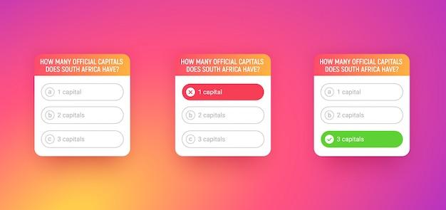 Plantilla De Prueba Para La Aplicacion De Redes Sociales Encuesta Con Opciones De Preguntas Sobre Fondo