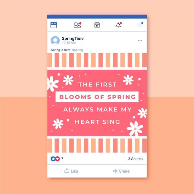Plantilla de publicación de facebook de cuadrícula de primavera vector gratuito