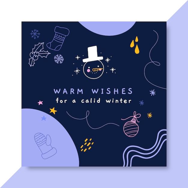 Plantilla de publicación de facebook del dibujo colorido del invierno del doodle vector gratuito