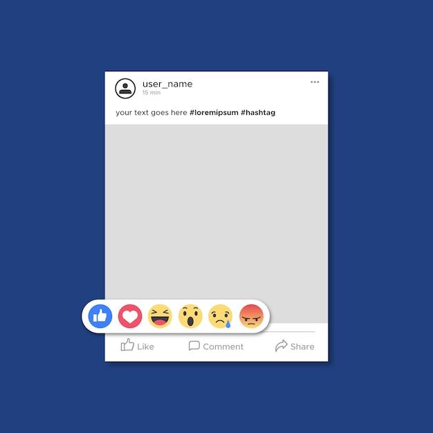 Plantilla de publicación de facebook con emoticones vector gratuito