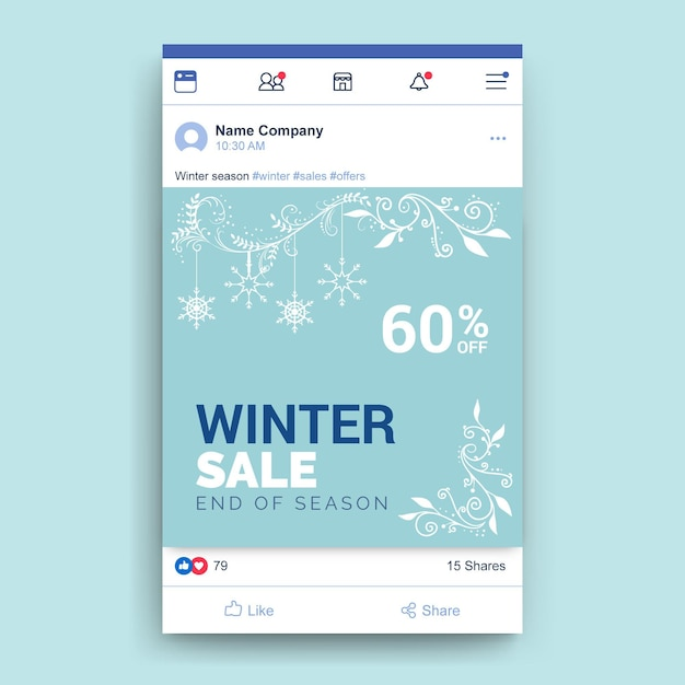 Plantilla de publicación de facebook de invierno ornamental vector gratuito