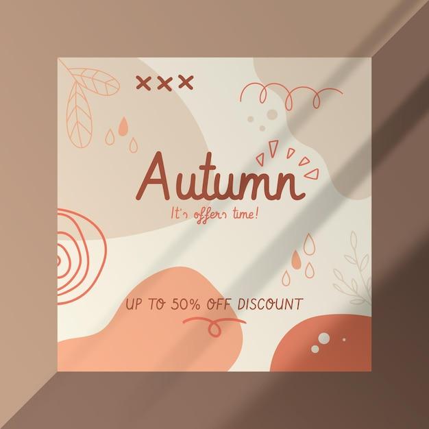 Plantilla de publicación de facebook de otoño con formas abstractas vector gratuito