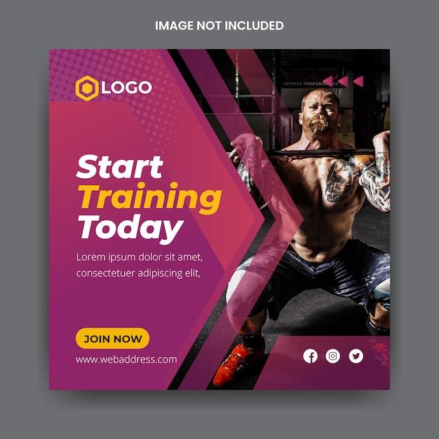 Plantilla de publicación de instagram de banner de medios sociales de gimnasio y fitness Vector Premium