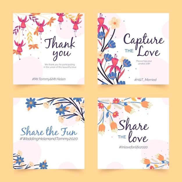 Plantilla de publicación de instagram de boda floral vector gratuito