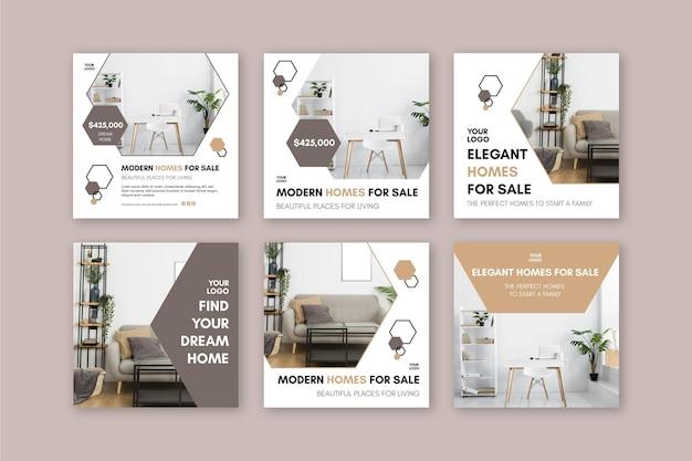 Plantilla de publicación de instagram de casas modernas Vector Premium