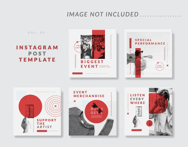 Plantilla de publicación de instagram minimalista en redes sociales para eventos Vector Premium