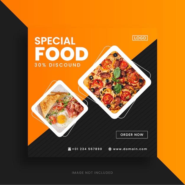 Plantilla de publicación de instagram de redes sociales de alimentos Vector Premium