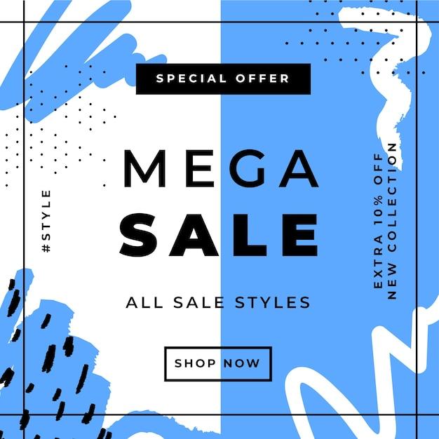 Plantilla de publicación de instagram de ventas vector gratuito