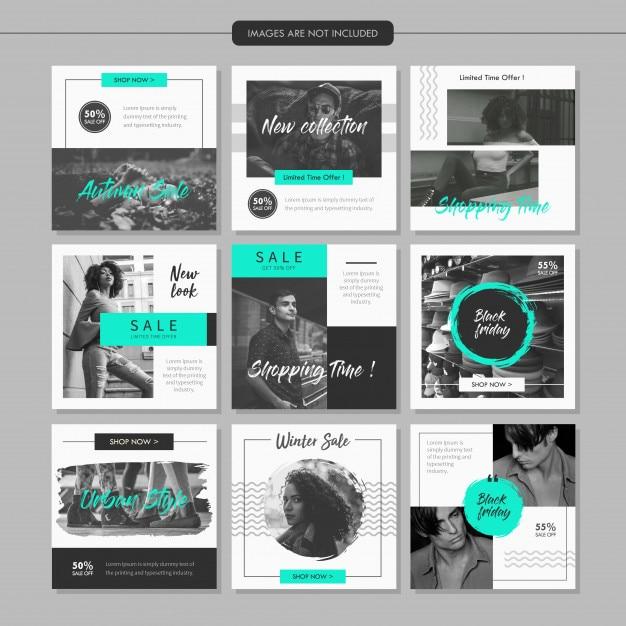 Plantilla de publicación en línea de medias de moda en escala de grises Vector Premium
