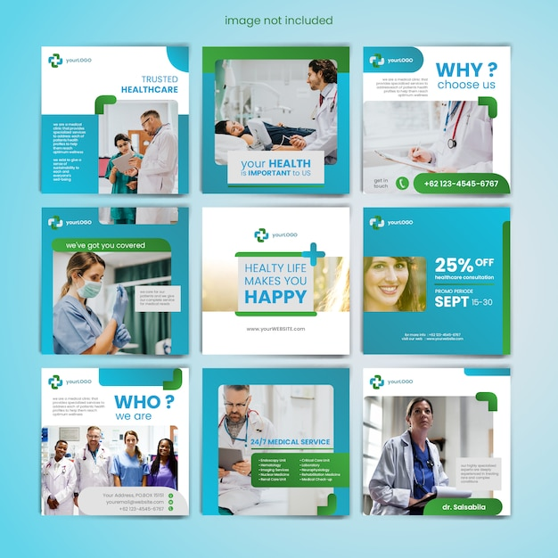Plantilla de publicación de medios sociales médicos Vector Premium