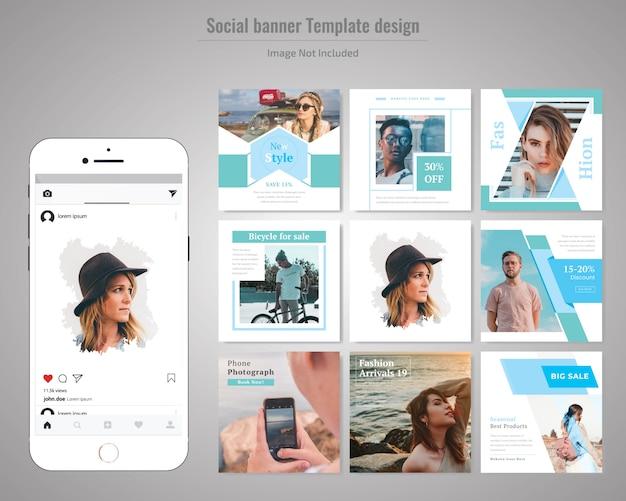 Plantilla de publicación de medios sociales de moda Vector Premium