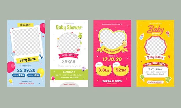 Plantilla de publicación de redes sociales de anuncio de cumpleaños de bebé Vector Premium
