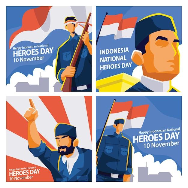 Plantilla de publicación en redes sociales del día de los héroes de indonesia con ilustración de personajes de héroes Vector Premium