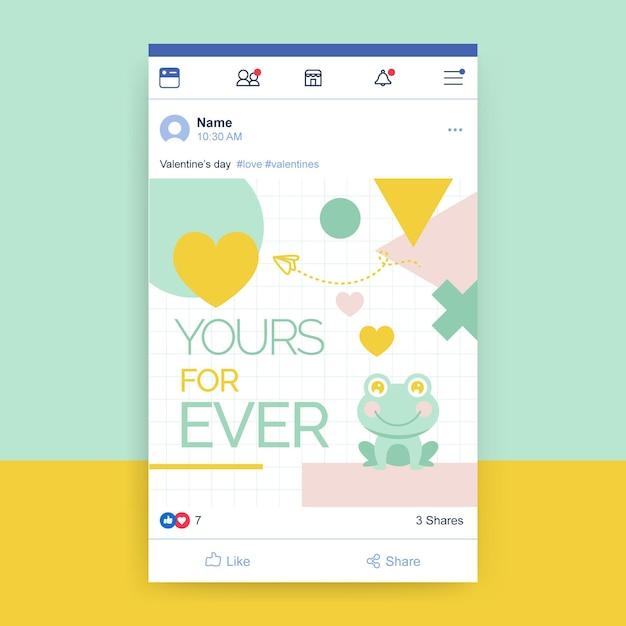 Plantilla de publicación de redes sociales del día de san valentín infantil geométrica vector gratuito