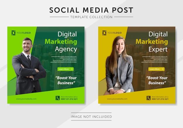 Plantilla de publicación de redes sociales de marketing de negocios digitales Vector Premium