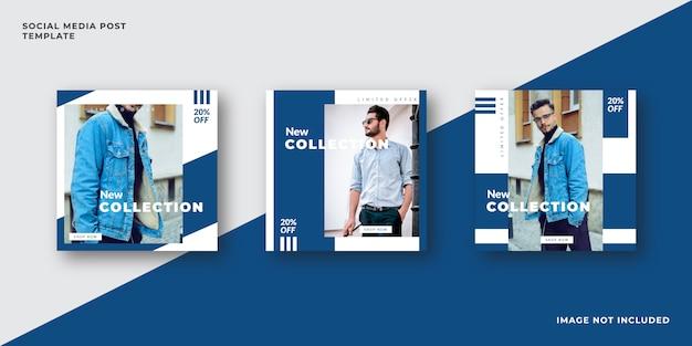 Plantilla de publicación de redes sociales de moda azul Vector Premium