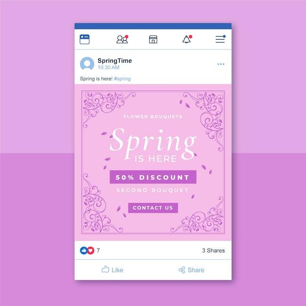 Plantilla de publicación de redes sociales de primavera monocolor ornamental vector gratuito