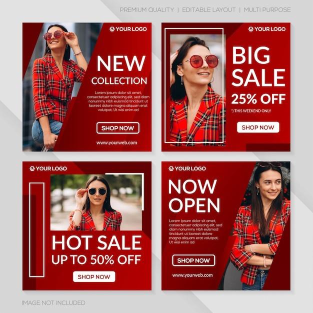 Plantilla de publicación de venta de moda Vector Premium