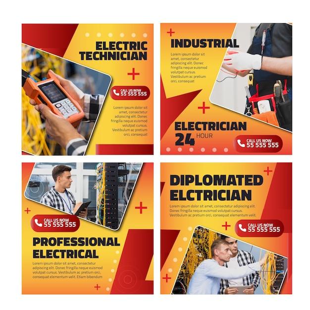 Plantilla de publicaciones de instagram de anuncio de electricista vector gratuito