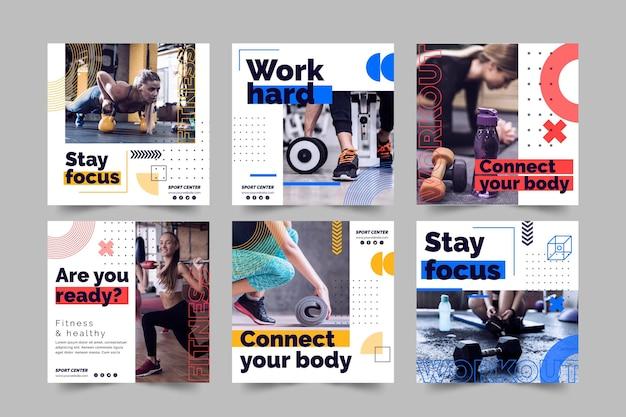 Plantilla de publicaciones de instagram de centro deportivo con foto vector gratuito