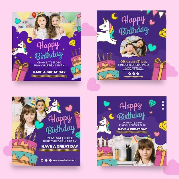 Plantilla de publicaciones de instagram de cumpleaños vector gratuito