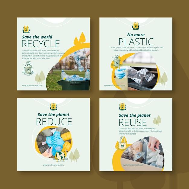 Plantilla de publicaciones de instagram de medio ambiente vector gratuito