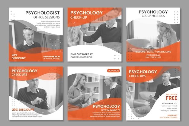 Plantilla de publicaciones de instagram de la oficina de psicología vector gratuito