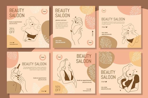 Plantilla de publicaciones de instagram de salón de belleza Vector Premium