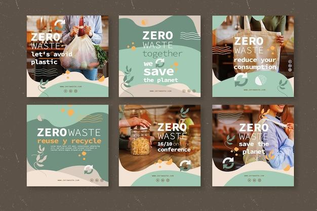 Plantilla de publicaciones de instagram zero waste Vector Premium