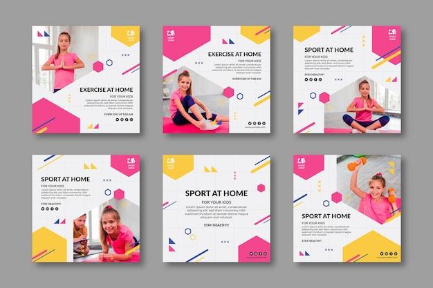 Plantilla de publicaciones de redes sociales de deporte en casa vector gratuito