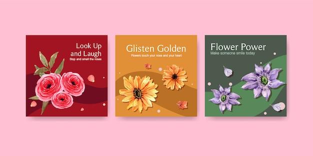 Plantilla de publicidad con diseño de flores de verano vector gratuito