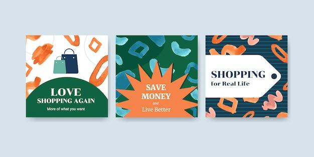Plantilla de publicidad para ventas de compras vector gratuito