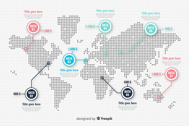 Plantilla de punteros de mapa continental Vector Premium