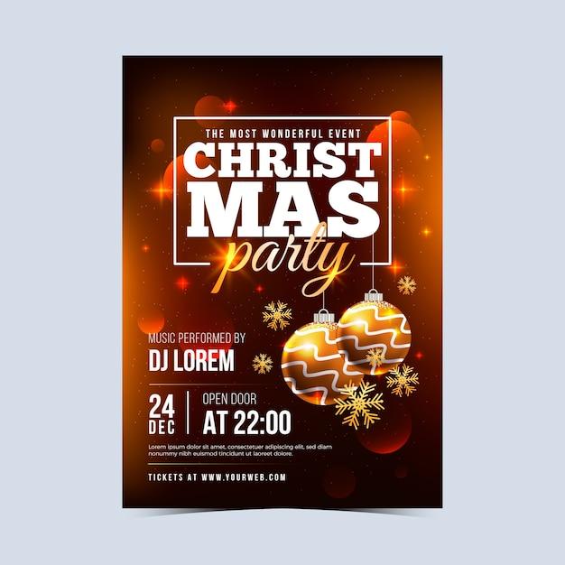 Plantilla realista de póster de fiesta de navidad vector gratuito