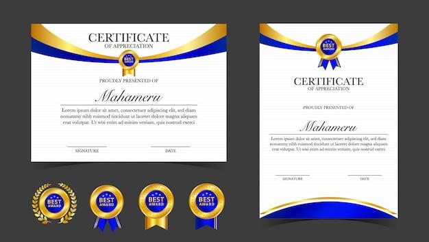 Plantilla de reconocimiento de certificado, color dorado y azul Vector Premium