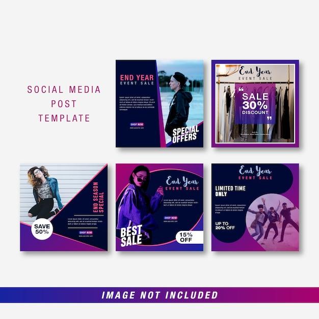 Plantilla de redes sociales de fin de año Vector Premium