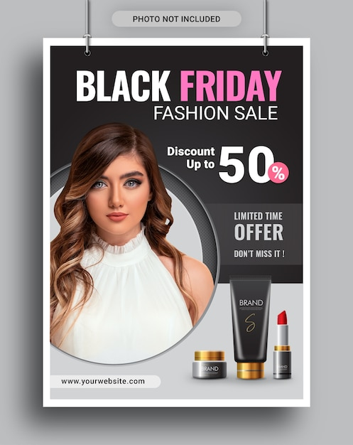 Plantilla de redes sociales de folleto de promoción de venta de moda de viernes negro Vector Premium