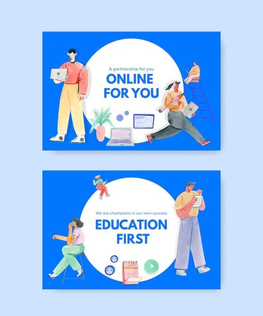 Plantilla de redes sociales con ilustración de acuarela de diseño de concepto de aprendizaje en línea vector gratuito