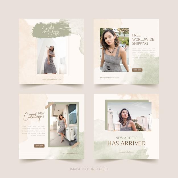 Plantilla de redes sociales de moda con publicación de paquete de acuarela Vector Premium
