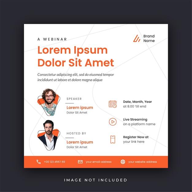 Plantilla de redes sociales de póster de seminario web Vector Premium