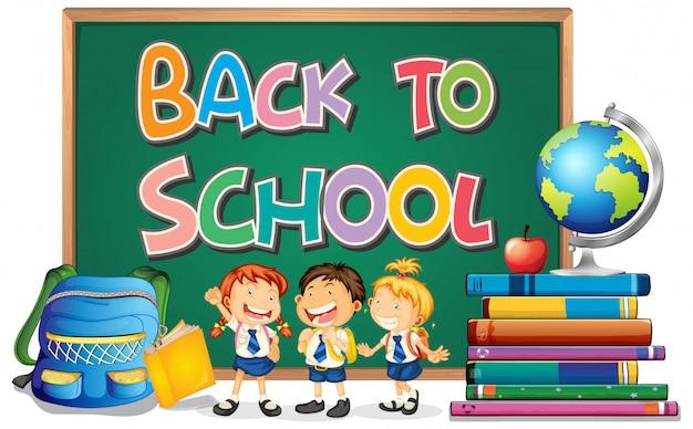 Plantilla de regreso a la escuela con estudiante vector gratuito
