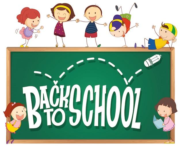 Plantilla de regreso a la escuela con niños doodle vector gratuito