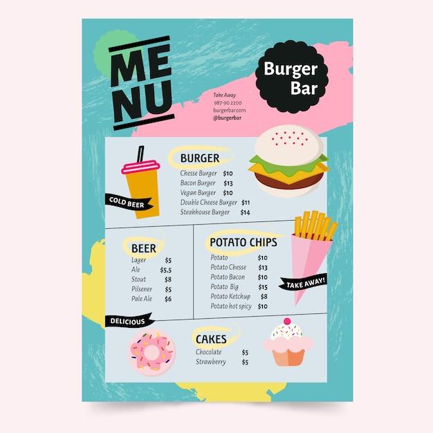 Plantilla para restaurante de menú con concepto colorido vector gratuito