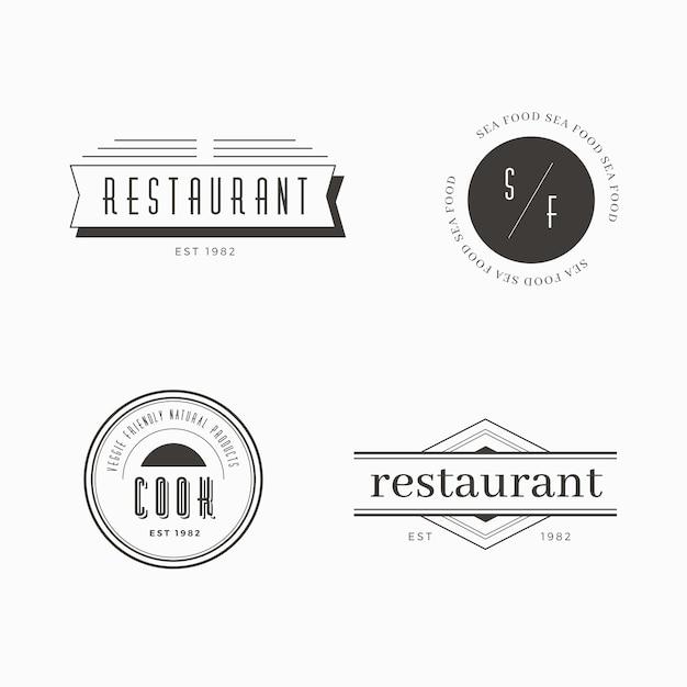 Plantilla de restaurante retro logo set vector gratuito