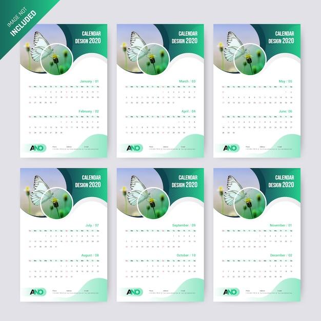 Plantilla resumen calendario 2020. Vector Premium