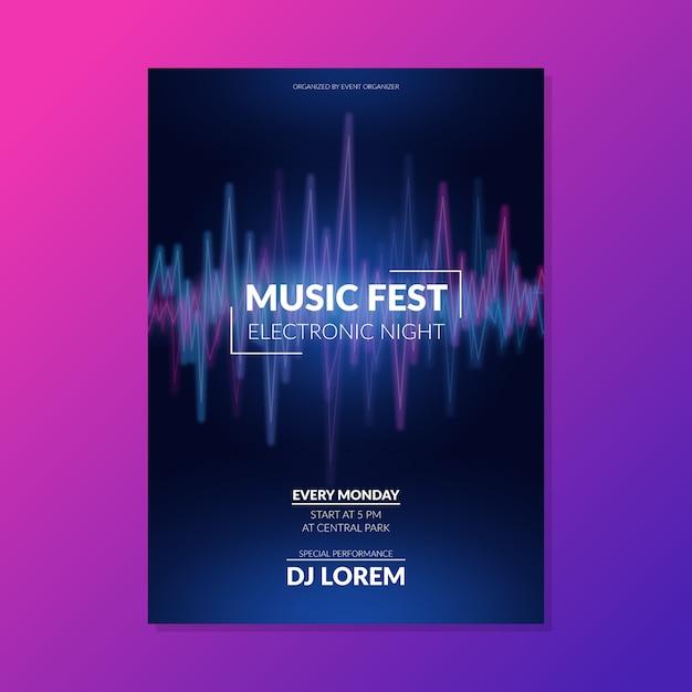 Plantilla resumen ola sonido música cartel vector gratuito