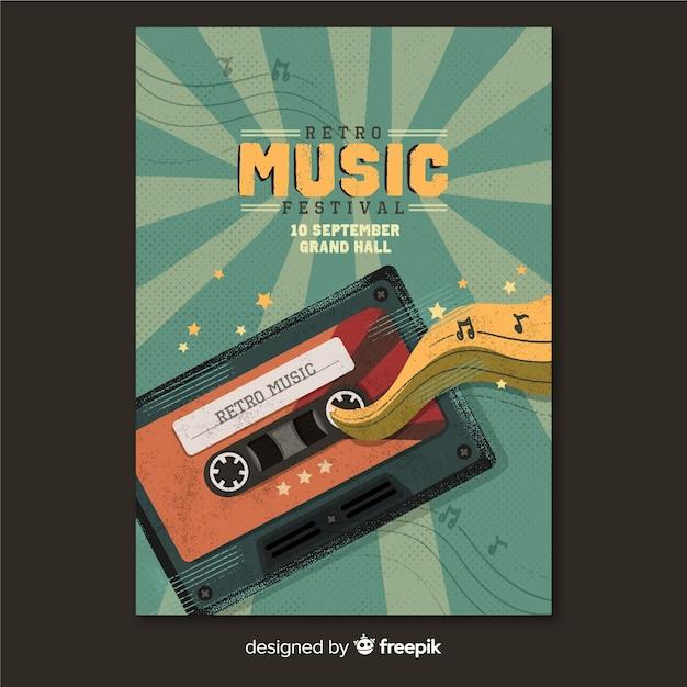 Plantilla retro de póster de música vector gratuito